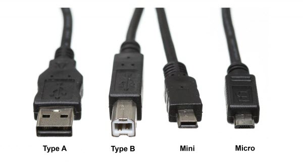 usb type a, usb type b, usb mini