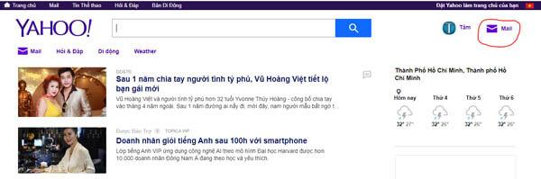 Trang chủ của Yahoo Mail